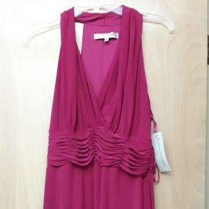 Evan Picone hot pink V neck ruched dress Sz 14 NWT